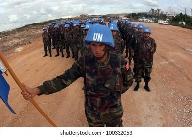 TYR, LEBANON-OCTOBER 21: Unidentified Turkish UN Soldiers on patrol on October 21, 2006 in Tyr, Lebanon