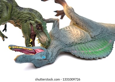 tyrannosaurus biting spinosaurus on a white background