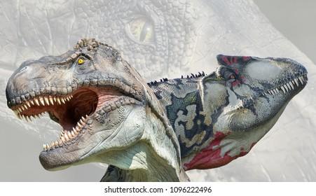 Tyrannosaurus rex and allosaurus