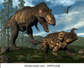 Tyrannosaurus rex attacking einiosaurus dinosaur among onychiopsis and wollemia pine trees - 3D render
