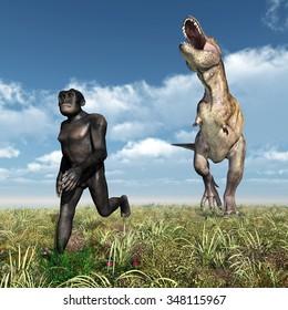 Tyrannosaurus Rex attacks Homo Habilis Computer generated 3D illustration