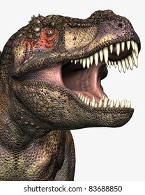 Tyrannosaurus Rex closeup illustration of head and eye, mouth open teeth showing. Isolated cutout or clip art on clean white background.