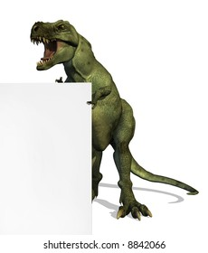 A Tyrannosaurus Rex dinosaur standing by the edge of a blank sign - 3D render.