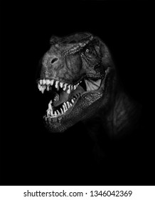 Tyrannosaurus Rex dinosaurs close up on dark background.