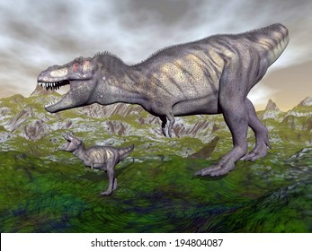 Tyrannosaurus rex dinosaurs mum and baby walking in the mountain by cloudy day