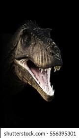 A Tyrannosaurus Rex head piercing through the darkness. 3d rendering