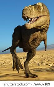 tyrannosaurus rex on blue sky desert 3d illustration