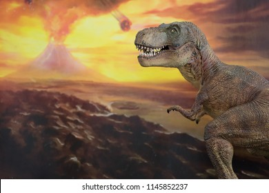 Tyrannosaurus rex with volcano explosion in the background