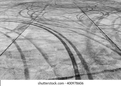 Tyre burnout marks on road