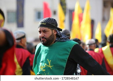 tyre city, lebanon, 24/10/2015, Ashura - islamic holy day; Symbolic military ceremonies; the remembrance ceremonies for the martyrdom of Imam Hussain; shia muslims