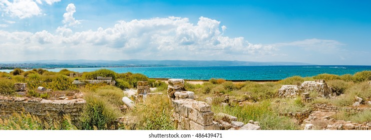Tyre Coast Landscape at Al Mina archaeological site in Tyre, Lebanon. It is located about 80 km south of Beirut.