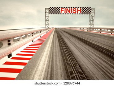tyre drift on race circuit finish line illustration
