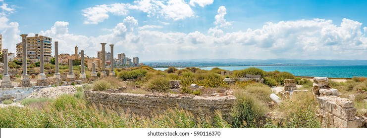 TYRE, LEBANON - August 17: Tyre Coast Landscape in Tyre, Lebanon on Aug. 17, 2016. It is located about 80 km south of Beirut.