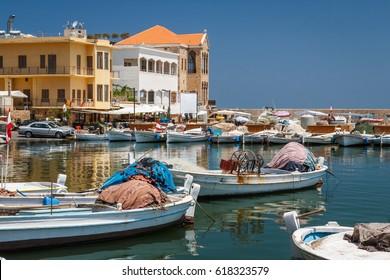 TYRE / LEBANON - JUNE 2014: Modern fishing harbour of Tyre, Lebanon
