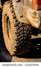 tyre off an off road car with mud