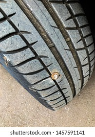 Tyre Puncture with  big bolt stuck inside.