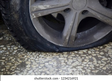 tyre puncture on the road