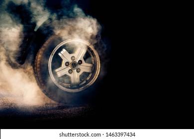 Tyre smoking after a burnout