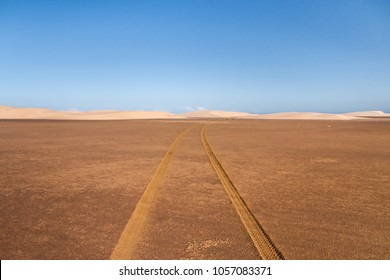 Tyre tracks through the desert sand dunes in southern Madagascar
