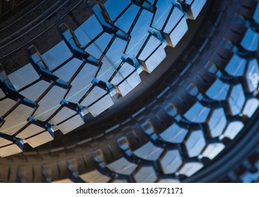 Tyre treads, Background closeup of thick chunky rubber tyres.