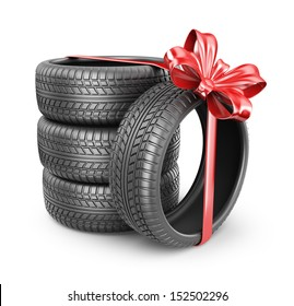 Tyres with a red ribbon. Present. 3D Icon isolated on white background