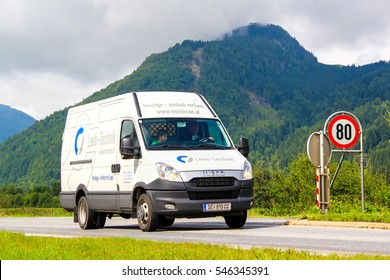TYROL, AUSTRIA - JULY 29, 2014: White cargo van Iveco Daily at the Grossglockner High Alpine Road.