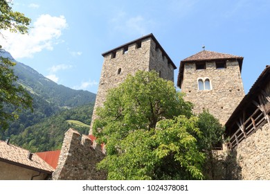 Tyrol Castle interior courtyard and tower in Tirol, South Tyrol