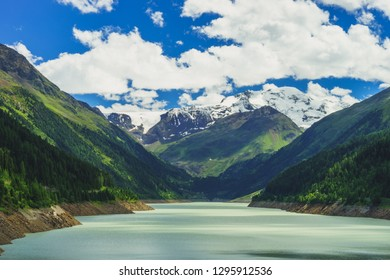 tyrolean Countryside at Kaunertal with Glacier and Reservoir