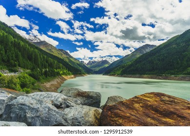 tyrolean Countryside at Kaunertal with Reservoir and Rocks