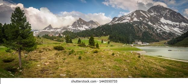 TYROL/KUEHTAI - June 2019: Dam Längental storage and power plant Sellrain-Silz in Kühtai, Tirol