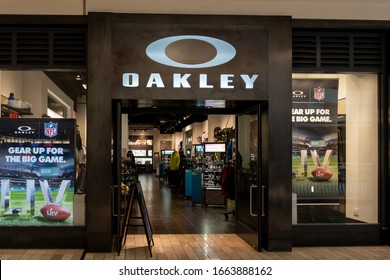 Tysons Corner, Virginia, USA- January 14, 2020:  Oakley storefront in Tysons Corner Center, Virginia, USA. Oakley, Inc. manufactures sports equipment and lifestyle pieces.