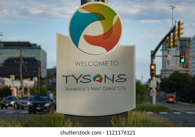 """Tysons Corner, Virginia / USA — June 24, 2018. """"Welcome to Tysons America's Next Great City"""" sign on Route 7 Leesburg Pike in early morning. Editorial Use Only."""