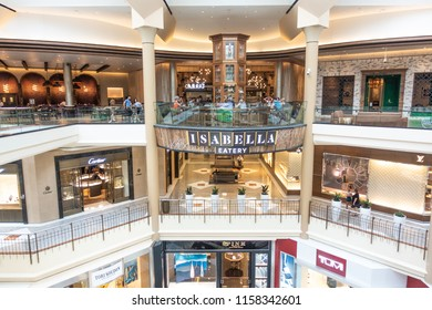 Tysons - McLean, Virginia, USA - August, 11, 2018: Isabella Eatery food hall level at Tysons Galleria mall.