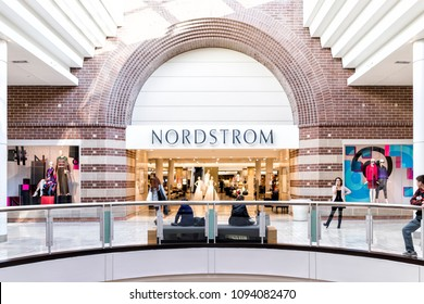 Tysons, USA - January 26, 2018: Nordstrom store sign entrance shop in Tyson's Corner Mall in Fairfax, Virginia by Mclean