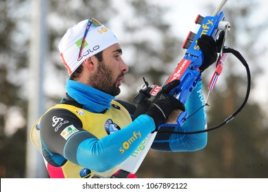 Tyumen, Russia, 03.24.2017. The final stage of the Biathlon World Cup, the winner of the pursuit race for men: FOURCADE Martin (FRA)