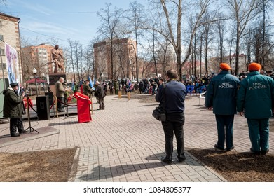 Tyumen, Russia - April 26, 2018: The festive event devoted to the 32nd anniversary of recovery from the accident on the Chernobyl NPP. Square of Courage