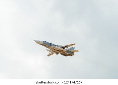 Tyumen, Russia - August 4, 2017: International Army Games. Engineering Formula contest. Sukhoi Su-24 russian supersonic front-line bomber in the sky