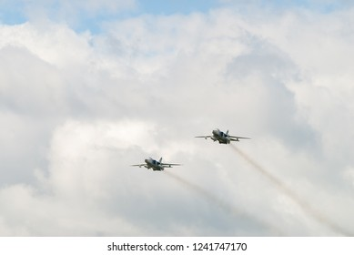 Tyumen, Russia - August 4, 2017: International Army Games. Engineering Formula contest. Sukhoi Su-24 russian supersonic front-line bombers in the sky
