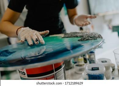 TYUMEN, RUSSIA - AUGUST 4, 2019: resin art workshop