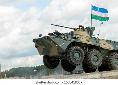 Tyumen, Russia - August 6, 2017: International Army Games. Safe Route contest. The BTR-82 amphibious armoured personnel carrier in action