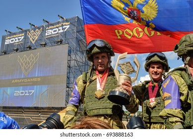 Tyumen, Russia - August 6, 2017: International Army Games. Safe Route contest. Highest military and engineering school ground. Awards ceremony of winners