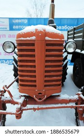 Tyumen, Russia, December 18, 2020: Old Tractor Belarus. In the Museum of auto moto retro technology.