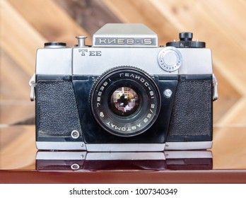 Tyumen, Russia - december 20, 2017: Vintage camera Kiev15. Kiev is a Soviet and Ukrainian brand of photographic equipment including cameras manufactured by the Arsenal Factory in Kiev, Ukraine