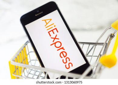 Tyumen, Russia - february 12, 2019: company aliexpress the concept of online shopping