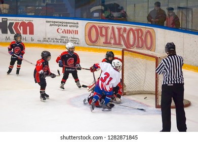 Tyumen, Russia - January 27, 2007: Hockey tournament Sweet tooth-99. Game between Metallurg Magnitogorsk and Avangard Omsk. Goal moment