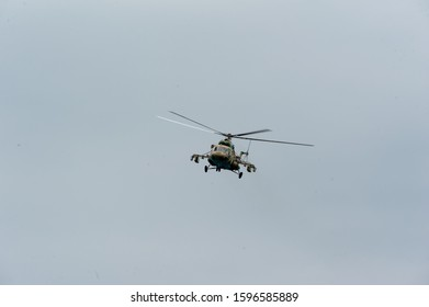 Tyumen, Russia - July 1, 2017: Army Games. Engineering Formula contest. 2 Military helicopter MI-8 in the sky