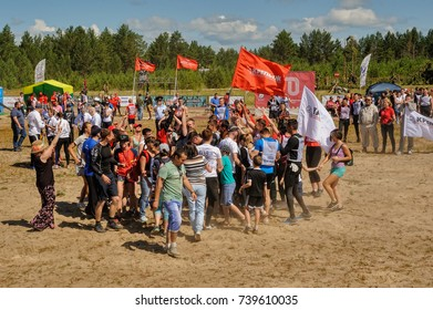 Tyumen, Russia - July 1, 2017: Race of Heroes project on the ground of the highest military and engineering school. Russian army obstacle course race