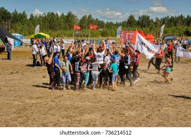 Tyumen, Russia - July 5, 2017: Race of Heroes project on the ground of the highest military and engineering school. Russian army obstacle course race