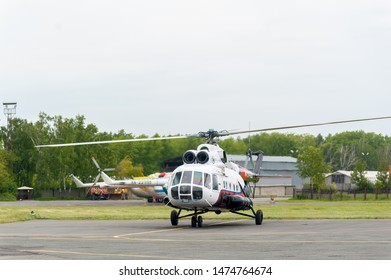 Tyumen, Russia - June 19, 2019: Aircraft repair helicopter UTair Engineering plant. Test flight of MI-8 helicopter after repairing