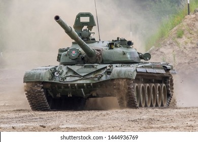 """Tyumen, Russia-June 30, 2019: all-Russian Army Games. Competition """"safe route"""", Russian medium tank T-72B1, on the road"""